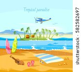 tropical island paradise rest.... | Shutterstock .eps vector #582582697