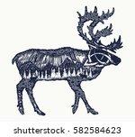 reindeer tattoo art. symbol... | Shutterstock .eps vector #582584623