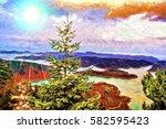plastiras lake panoramic view