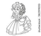 lovely princess outlined... | Shutterstock .eps vector #582599053