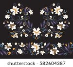 stock vector flowers and leaf...