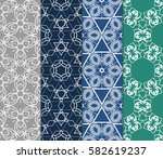 set of geometric seamless... | Shutterstock .eps vector #582619237