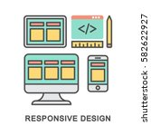 icons of responsive web design  ... | Shutterstock .eps vector #582622927