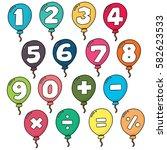 vector set of number balloon | Shutterstock .eps vector #582623533