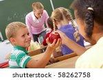 portrait of schoolgirl passing... | Shutterstock . vector #58262758