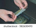 man rolling a marijuana joint ... | Shutterstock . vector #582630493
