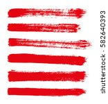 red vector strokes of paint on...   Shutterstock .eps vector #582640393