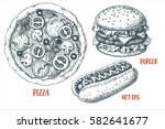 set with various fast food. hot ... | Shutterstock .eps vector #582641677