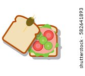 open sandwich cartoon design....   Shutterstock .eps vector #582641893