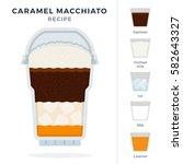 caramel macchiato ice coffee... | Shutterstock .eps vector #582643327