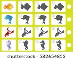 match shadow   worksheet for... | Shutterstock .eps vector #582654853