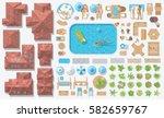 vector set. houses  people ... | Shutterstock .eps vector #582659767
