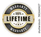 gold lifetime warranty badge  ...   Shutterstock .eps vector #582660427