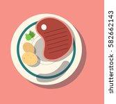 steak meat on the plate. good... | Shutterstock .eps vector #582662143