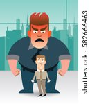 angry boss and frightened... | Shutterstock .eps vector #582666463