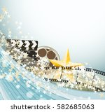 cinema background with retro... | Shutterstock .eps vector #582685063