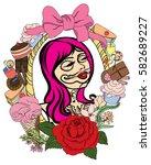 day of dead girl with dessert... | Shutterstock .eps vector #582689227
