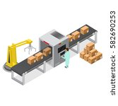 factory conveyor system belt... | Shutterstock .eps vector #582690253