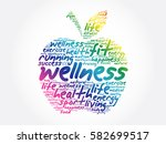 wellness apple word cloud... | Shutterstock .eps vector #582699517