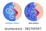 mouth breath with bad smell.... | Shutterstock .eps vector #582709597