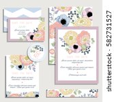 vintage wedding invitation set... | Shutterstock .eps vector #582731527
