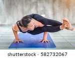 asian trainee strong woman... | Shutterstock . vector #582732067