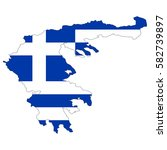 greece map with a flag. vector... | Shutterstock .eps vector #582739897