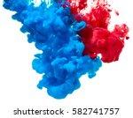 Blue And Red Ink Splash...