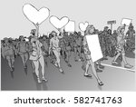 illustration of marching crowd... | Shutterstock .eps vector #582741763