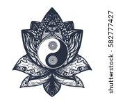 vintage yin and yang in mandala ...   Shutterstock .eps vector #582777427