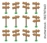 vector set of wooden arrow... | Shutterstock .eps vector #582787663