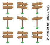 vector set of wooden arrow... | Shutterstock .eps vector #582787693