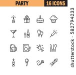 party flat icon set. collection ... | Shutterstock .eps vector #582794233