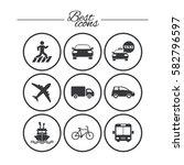 transport icons. car  bike  bus ... | Shutterstock .eps vector #582796597