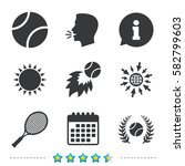 tennis ball and racket icons.... | Shutterstock .eps vector #582799603