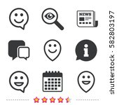 happy face speech bubble icons. ... | Shutterstock .eps vector #582803197