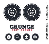 grunge post stamps. happy face... | Shutterstock .eps vector #582803257