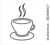 cup of coffee or tea line icon.... | Shutterstock .eps vector #582808417