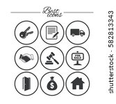 real estate  auction icons.... | Shutterstock .eps vector #582813343
