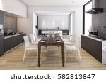 3d rendering wood wide kitchen... | Shutterstock . vector #582813847