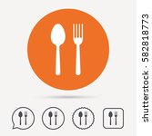 food icons. fork and spoon... | Shutterstock .eps vector #582818773