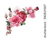 bouquet of roses  watercolor ... | Shutterstock . vector #582819307