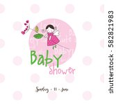 baby shower invitation template.... | Shutterstock .eps vector #582821983