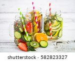 fresh detox water with fresh... | Shutterstock . vector #582823327