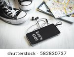 essential travel accessories ... | Shutterstock . vector #582830737