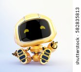 childish mini robot toy resting ... | Shutterstock . vector #582835813