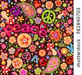 hippie childish funny wrapper... | Shutterstock .eps vector #582840703