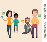 friends sit in social networks...   Shutterstock .eps vector #582842623