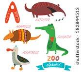 vector zoo alphabet. letter 'a'.... | Shutterstock .eps vector #582844513