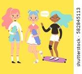 set of three cute skater girls...   Shutterstock .eps vector #582845113